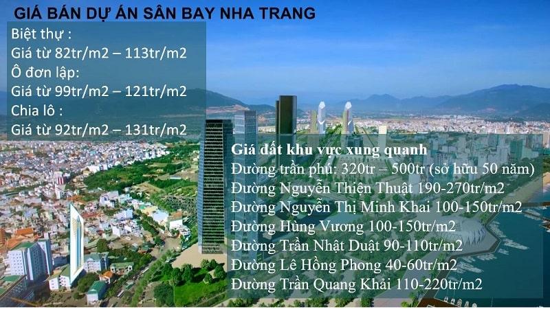 Mức giá bán tại dự án sân bay Nha Trang cũ
