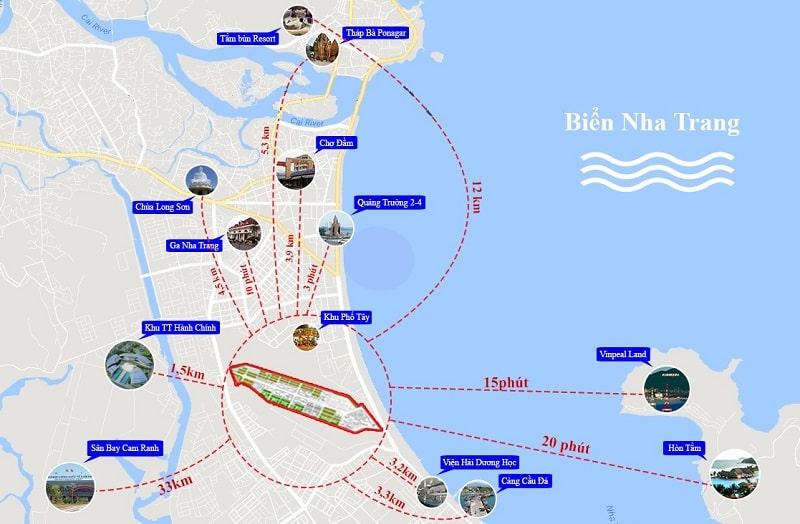 Vị trí dự án sân bay cũ Nha Trang nằm ở đường Lê Hồng Phong và Trần Phú